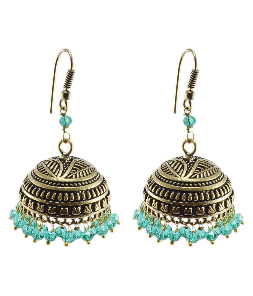 Silvesto India Green Aqua Crystal Beaded Tribal Crafted Jhumki Hook Earrings PG-104274