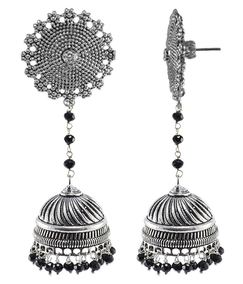 Large Vintage Jewellery Danglers with Black Crystal Beads And Floral Jhumka Earrings By Silvesto India PG-104827