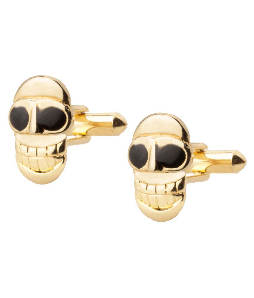 Shining Jewel Gold Plated Funky & Stylish Skull Design Cufflinks For Men (SJ_7036)