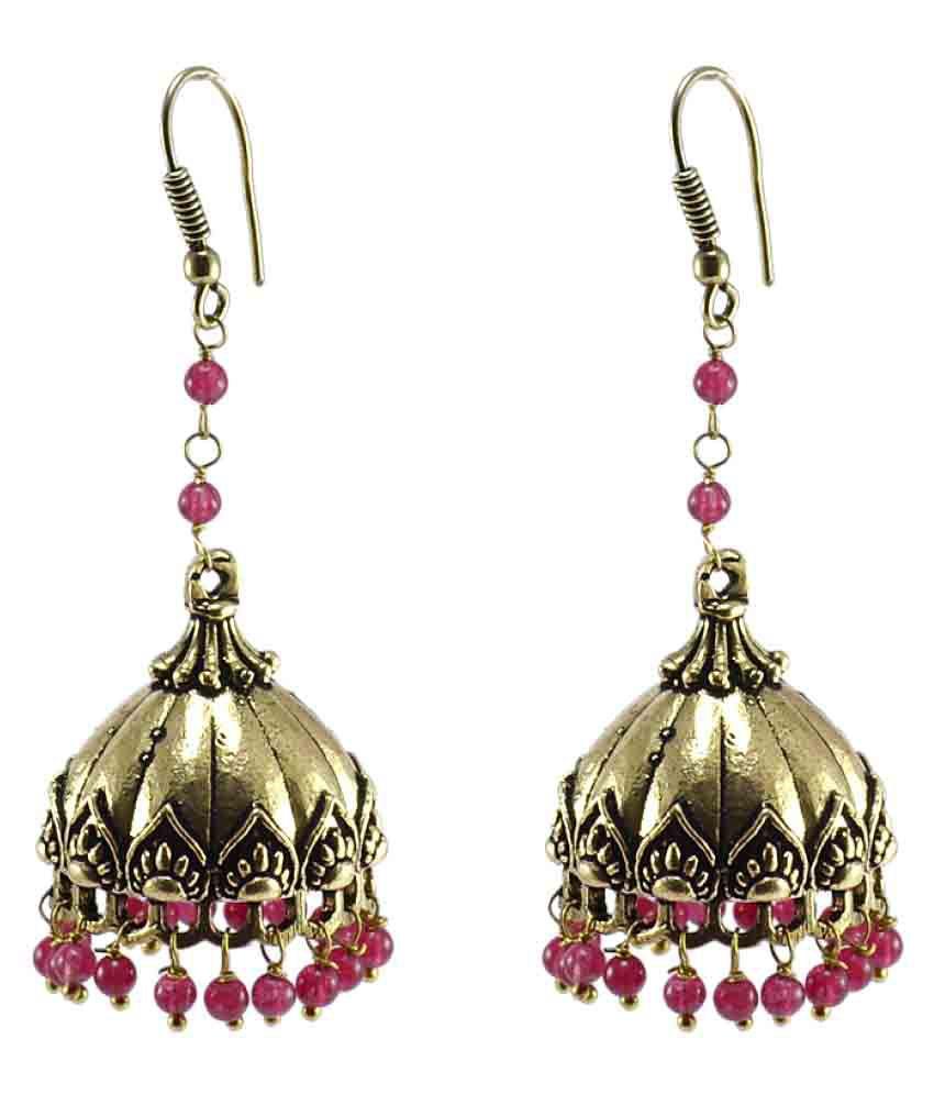 Silvesto India Brass Ethnic India Jewelry Pink Quartz Beads Jhumki Earring  PG-104608