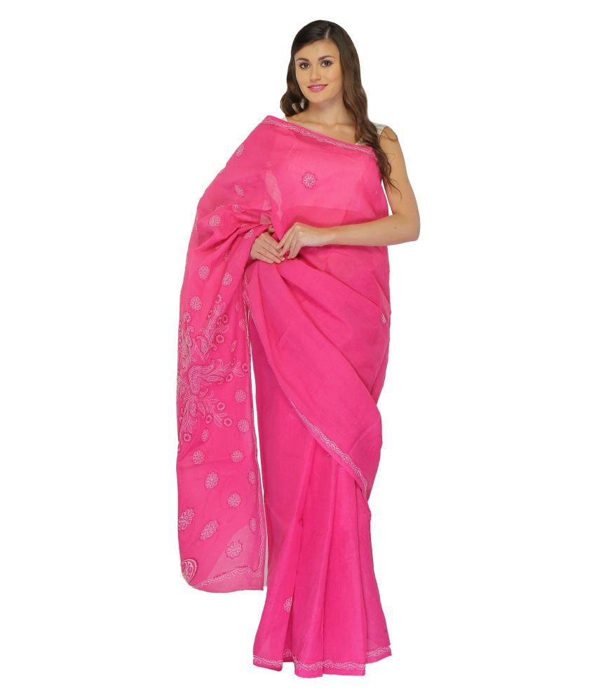 BDS Chikan Pink Cotton Saree