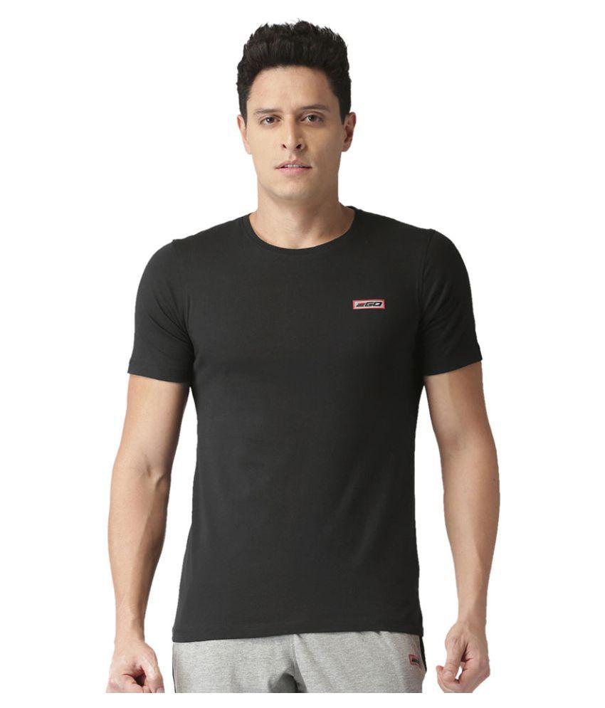 2GO Bold Black Half sleeves Round Neck T-shirt