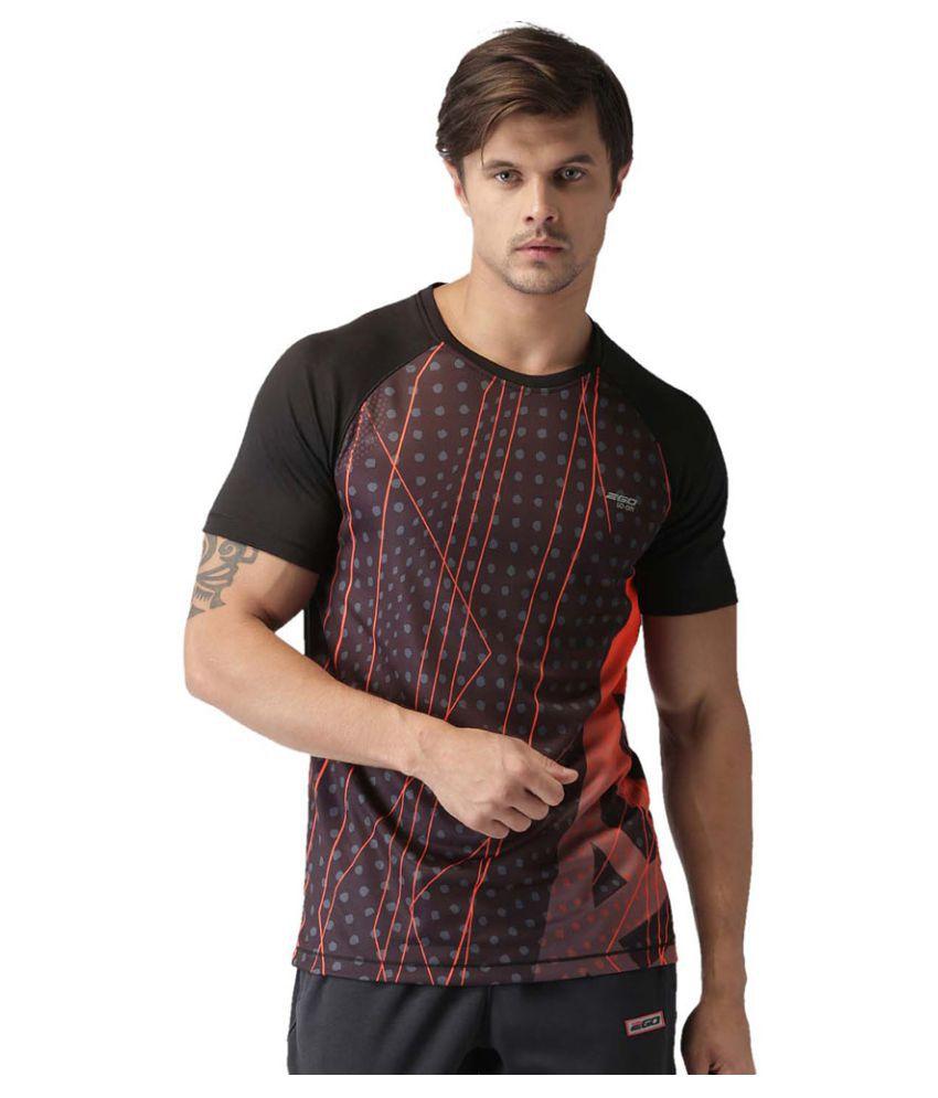 2GO Bold Black Print 2GO Running Round Neck Half sleeves T-Shirt