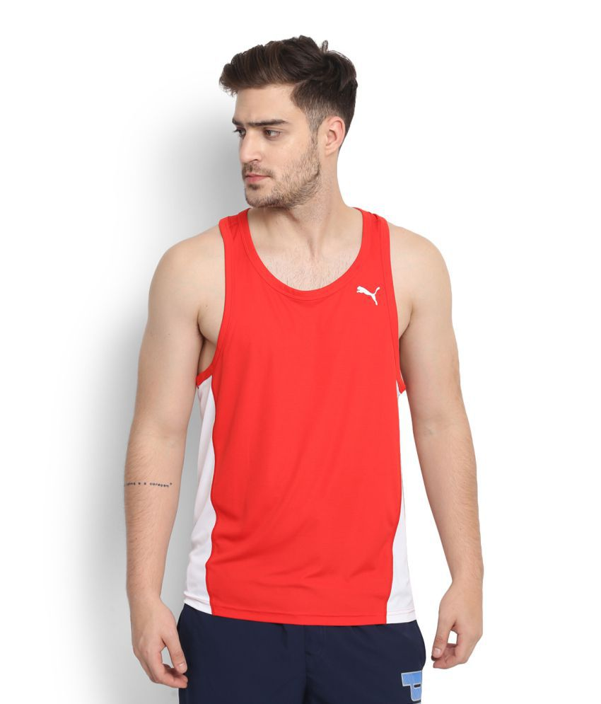 Puma Red Polyester T-Shirt