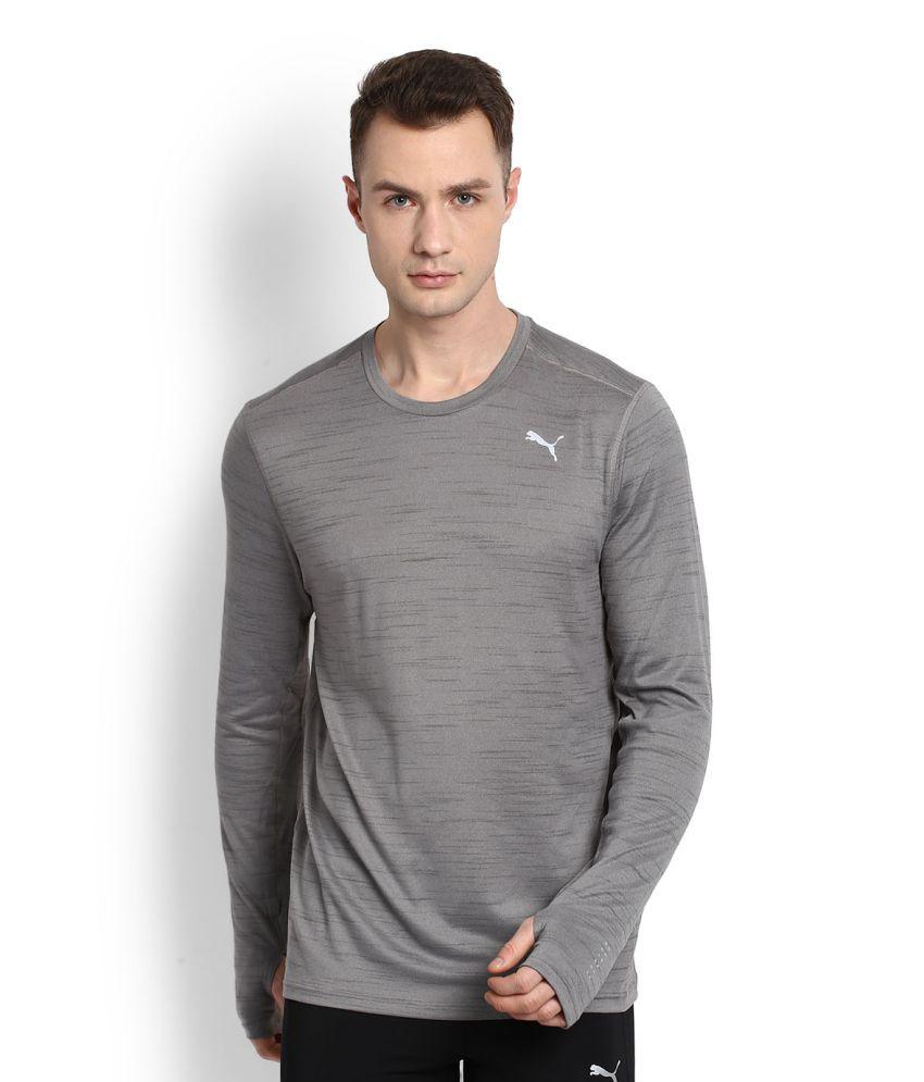Puma Grey Polyester T-Shirt