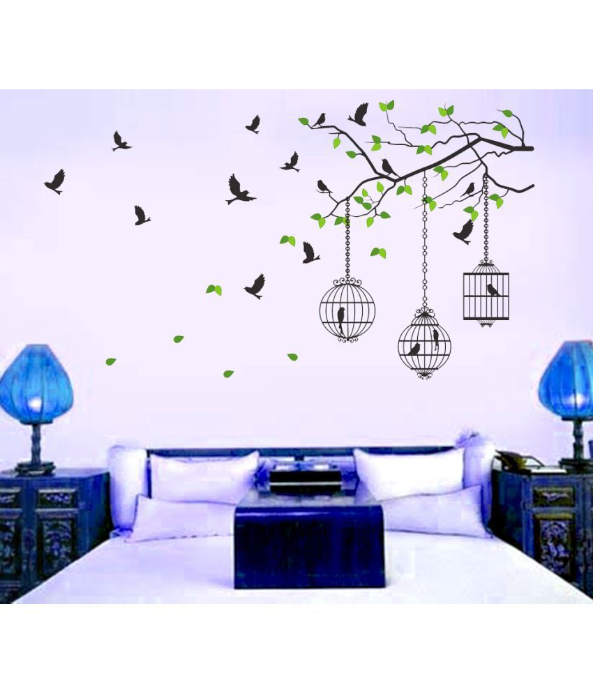 NewWayDecals ''Freedom Of Caged Birds'' Vinyl Multicolour Wall Sticker (150 x 85 cms)