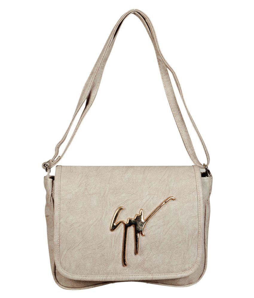 Triveni Sarees Gray Rexin Sling Bag