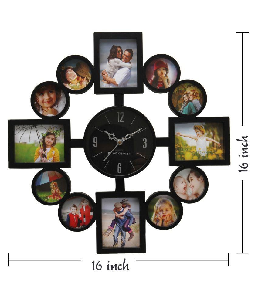 Blacksmith Black Plastic Wall Clock With Photo Frame Buy Blacksmith