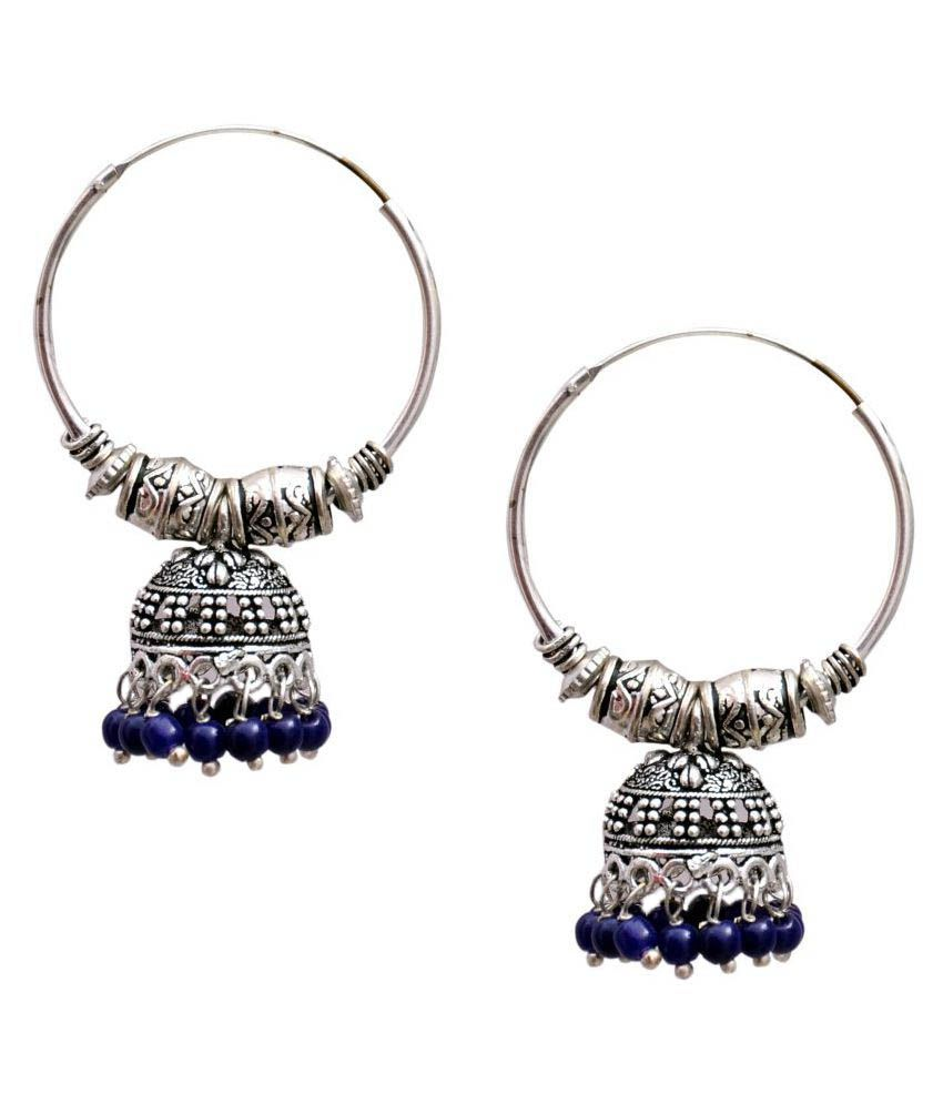 Oxidized Silver Blue Pearl Hoop Ring Jhumka Earring Small
