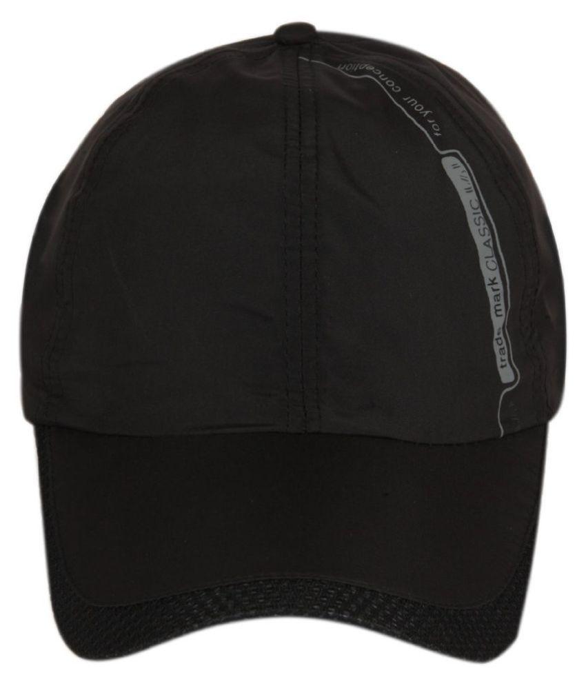 ILU Black Plain Cotton Caps