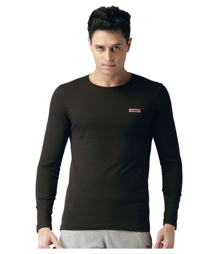 2GO Bold Black Full sleeves Round Neck T-shirt