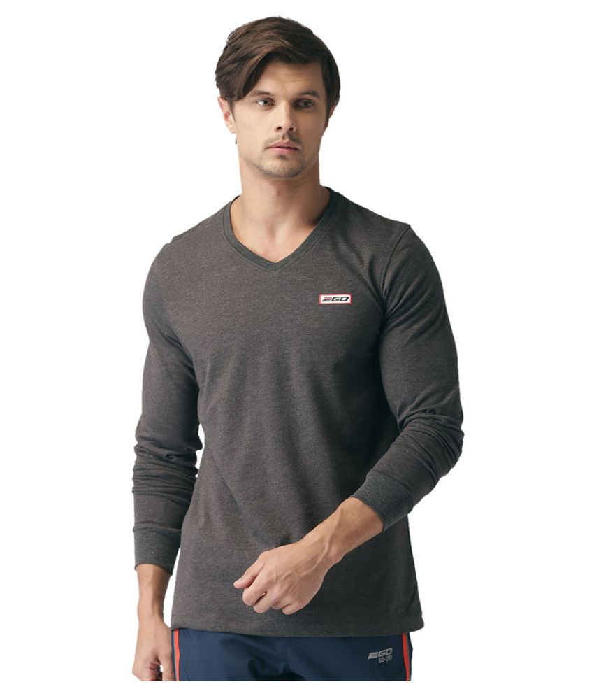 2GO Charcoal Mel Full sleeves V-Neck T-shirt