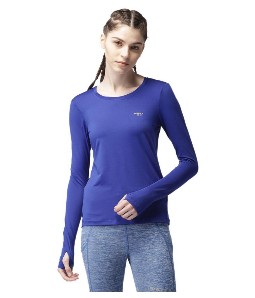 2GO Electric Blue Round neck Full sleeves T-shirt