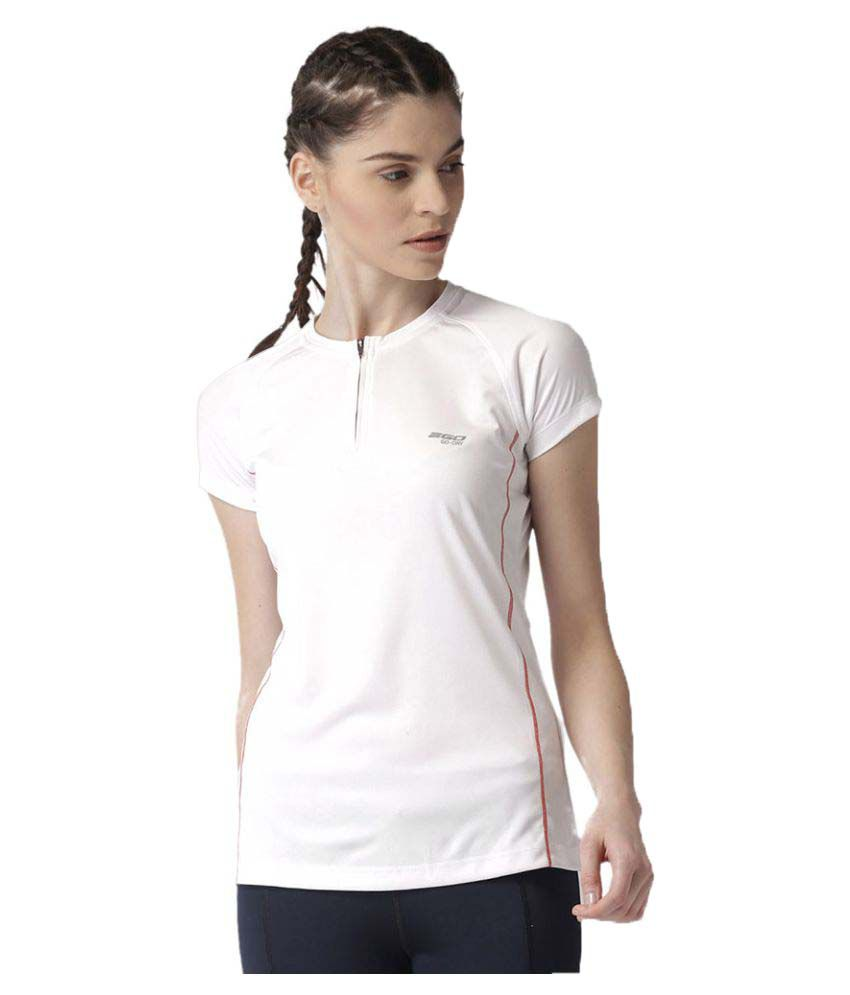 2GO Pace White Round neck Half sleeves T-shirt