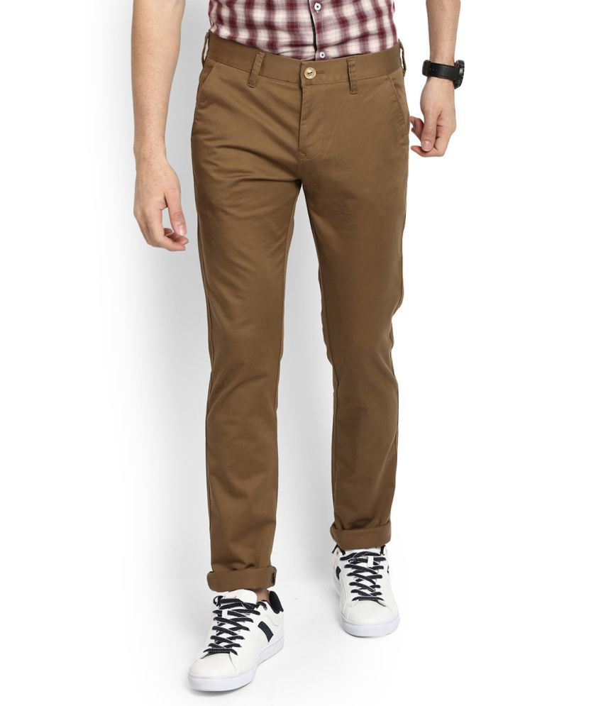 LAWMAN pg3 Khaki Slim -Fit Flat Trousers