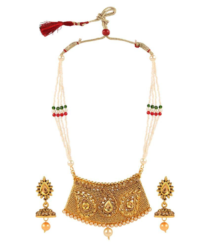Archi Collection Designer Gold Plated Multicolor and Pearl Traditional Necklace Set with Drop Earrings for Women