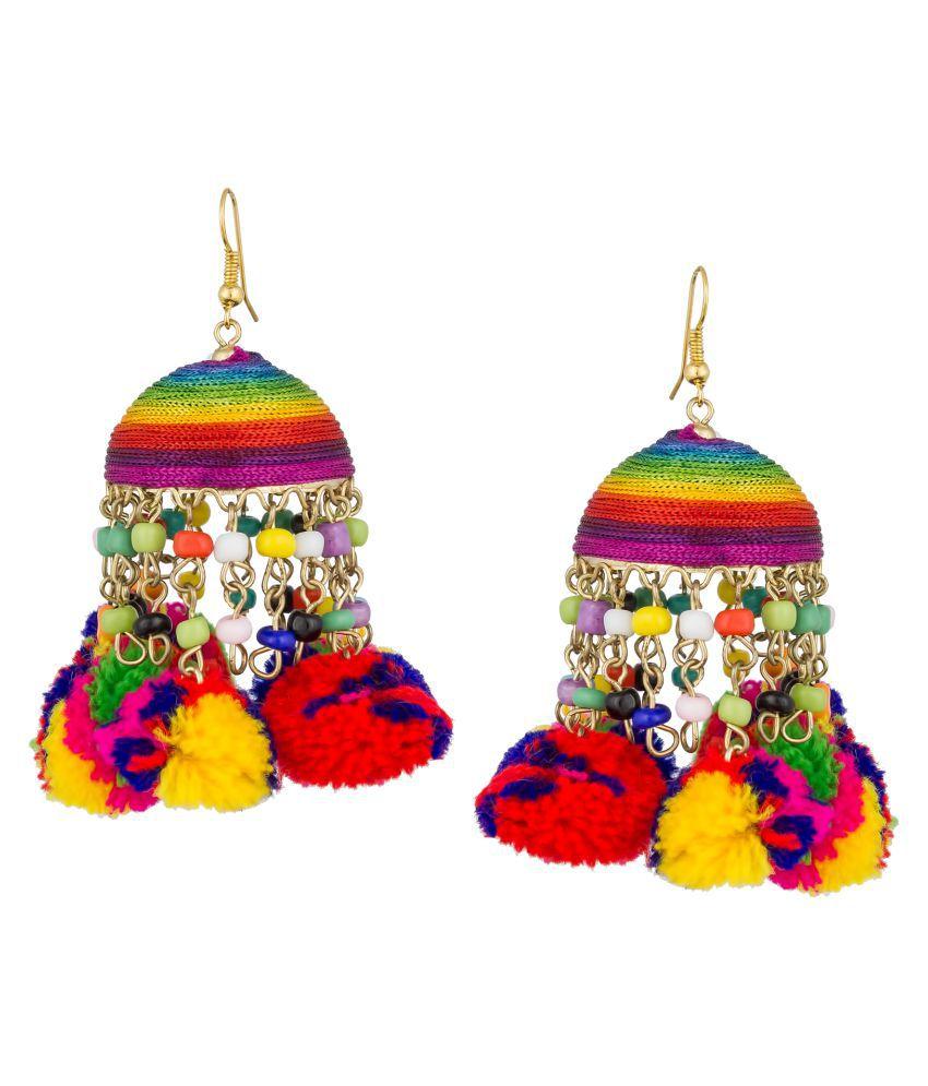 The Luxor Trendy Pom Pom Jhumar Earrings