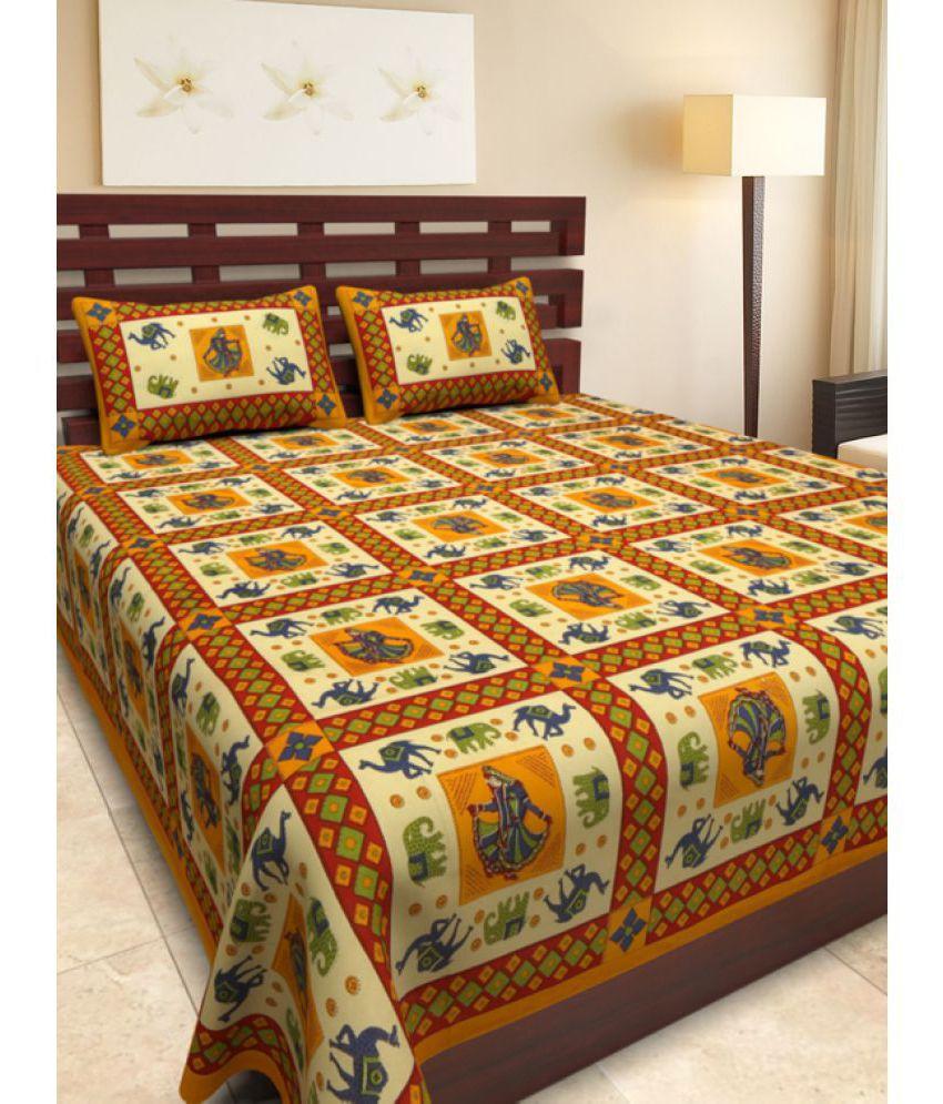 Uniqchoice Double Cotton Multicolor Traditional Bed Sheet