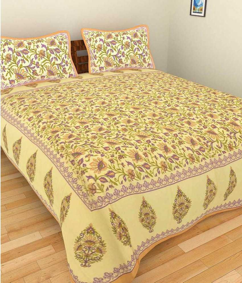 Uniqchoice Double Cotton Multicolor Abstract Bed Sheet