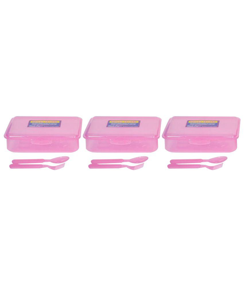 Harshpet Pink Polypropylene (PP) Lunch Box