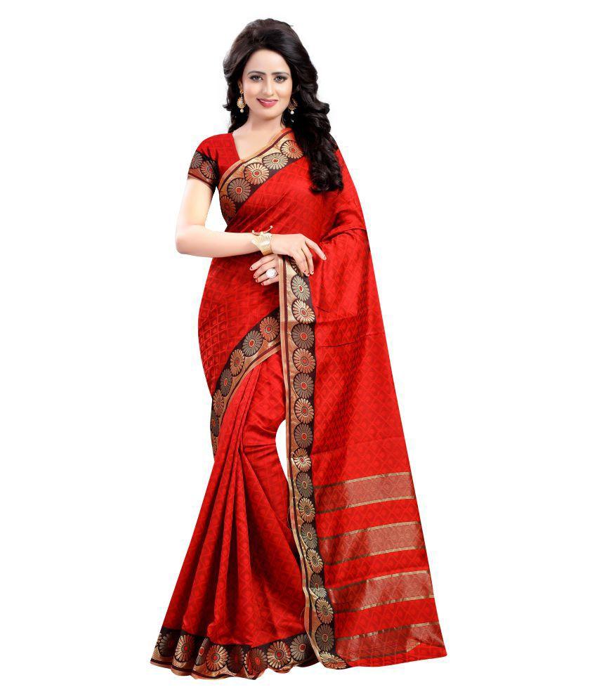 Ladie Silk Red Cotton Silk Saree
