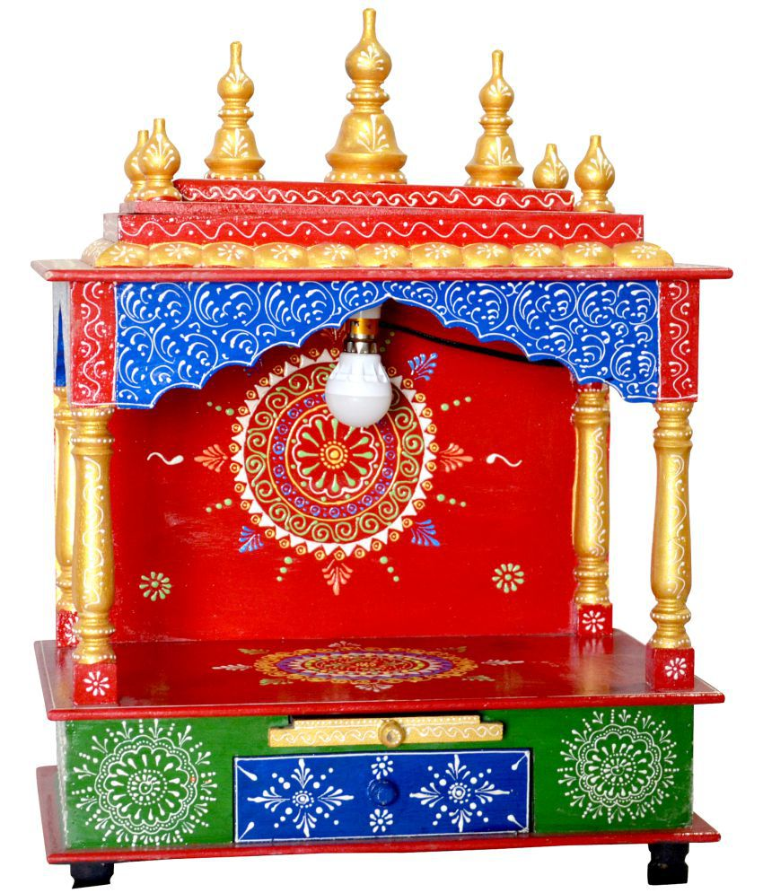 New star home decor multicolour wood hanging mandir buy for Star decorations for home