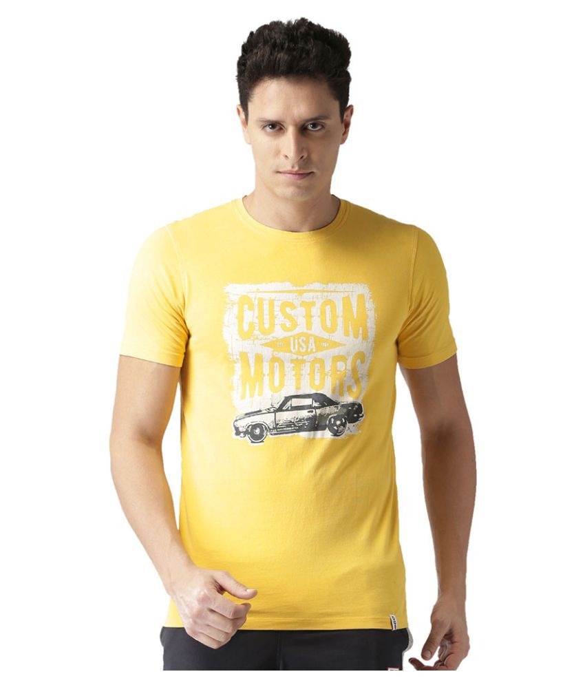 2GO Dark Yellow Round Neck Half sleeves Printed T-shirt