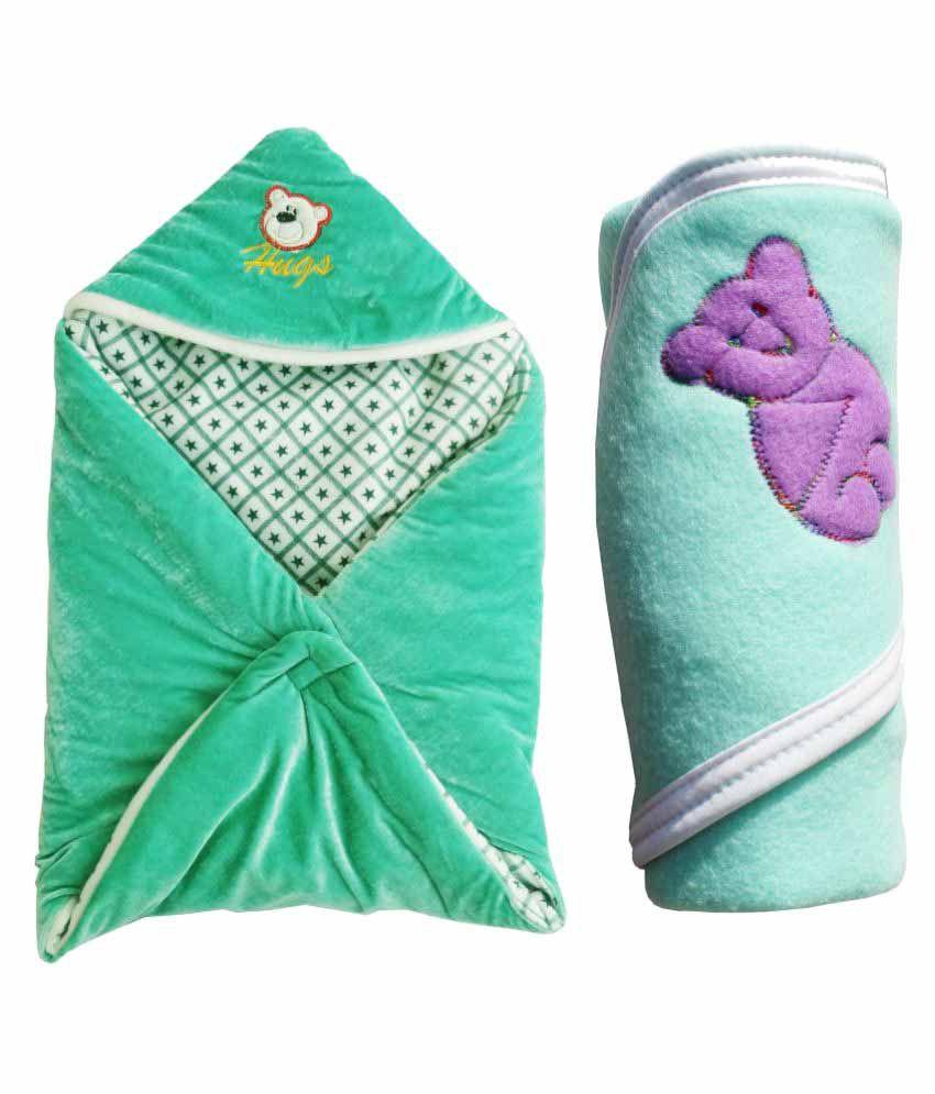 My NewBorn Multi-Colour Velvet Baby Wrap cum blanket ( 83 cm × 96 cm - 2 pcs)