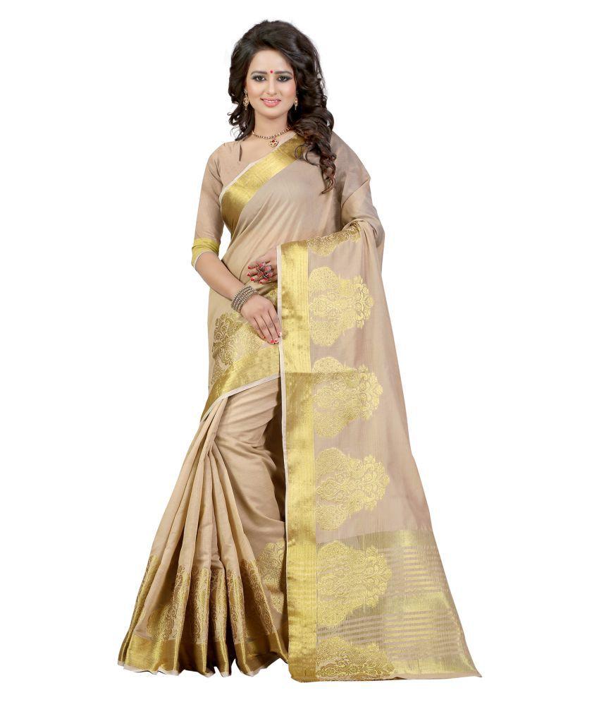 Vishwas Enterprise Beige Banarasi Silk Saree