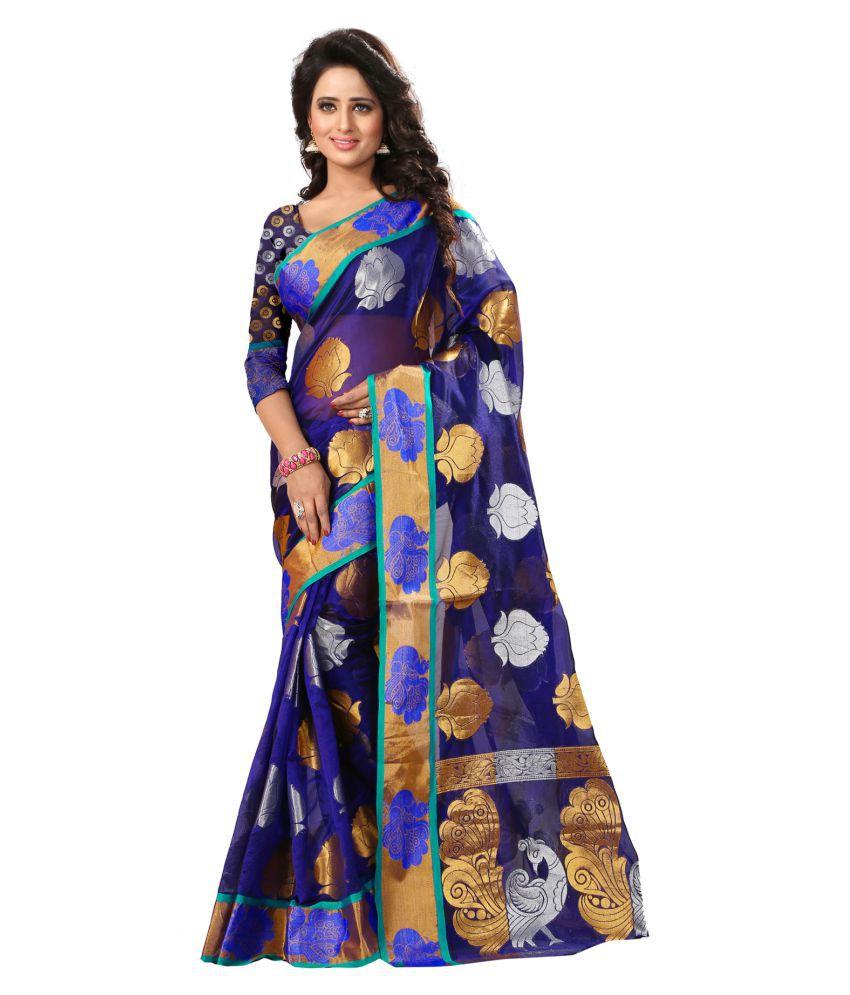 VISHWAS ENTERPRISE Purple and Blue Banarasi Silk Saree