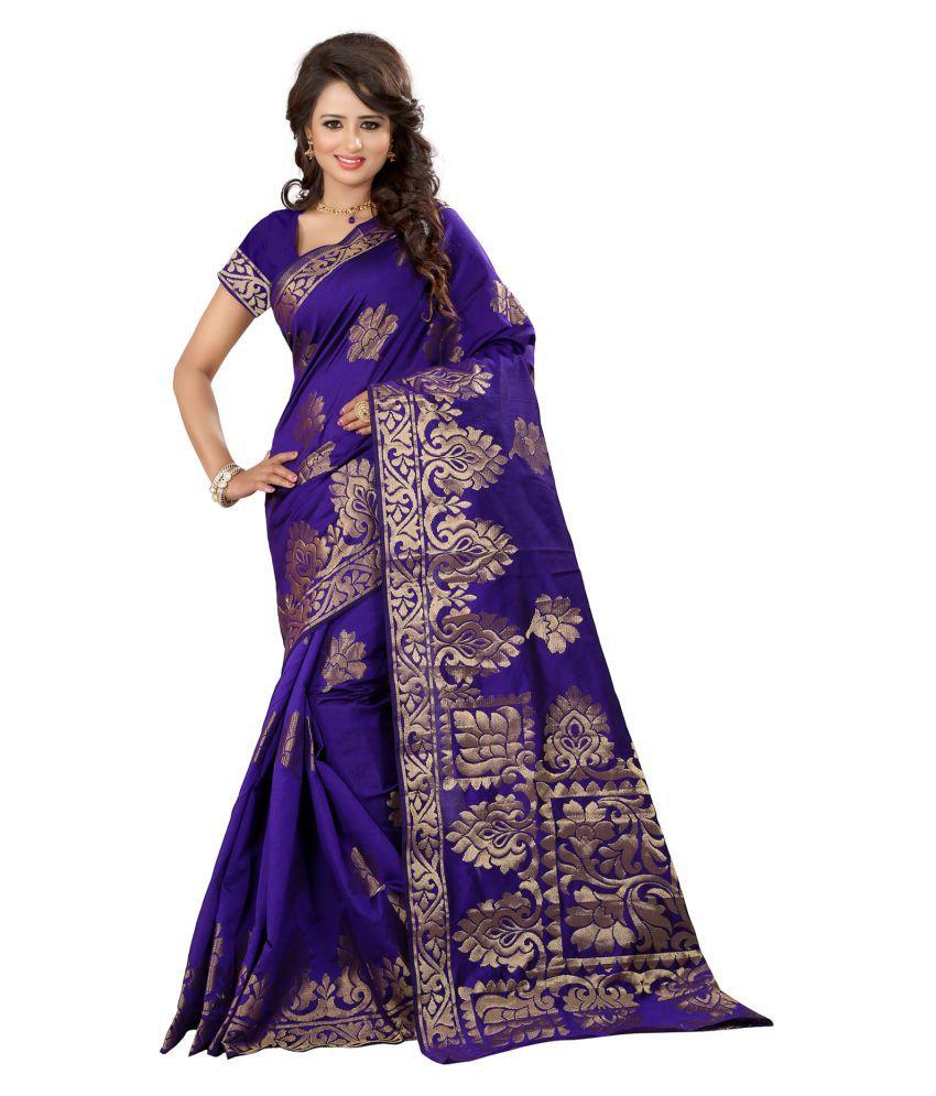 Vishwas Enterprise Grey and Purple Banarasi Silk Saree