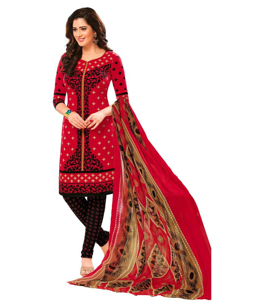 Jevi Prints Red Synthetic Dress Material