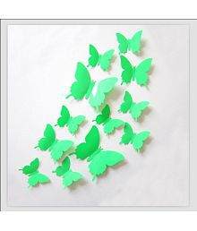Jaamso Royals Green Butterfly PVC Green Wall Sticker - Pack Of 1