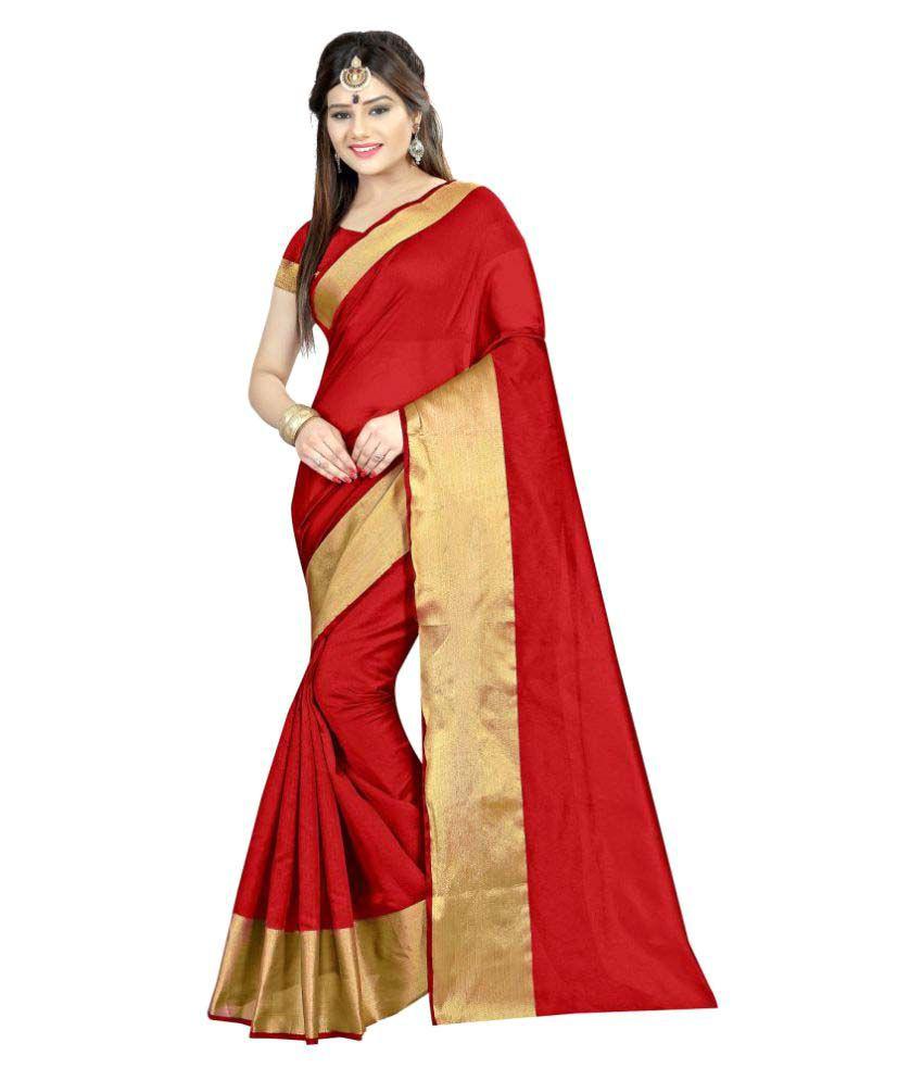 Silk Zone Red Cotton Silk Saree