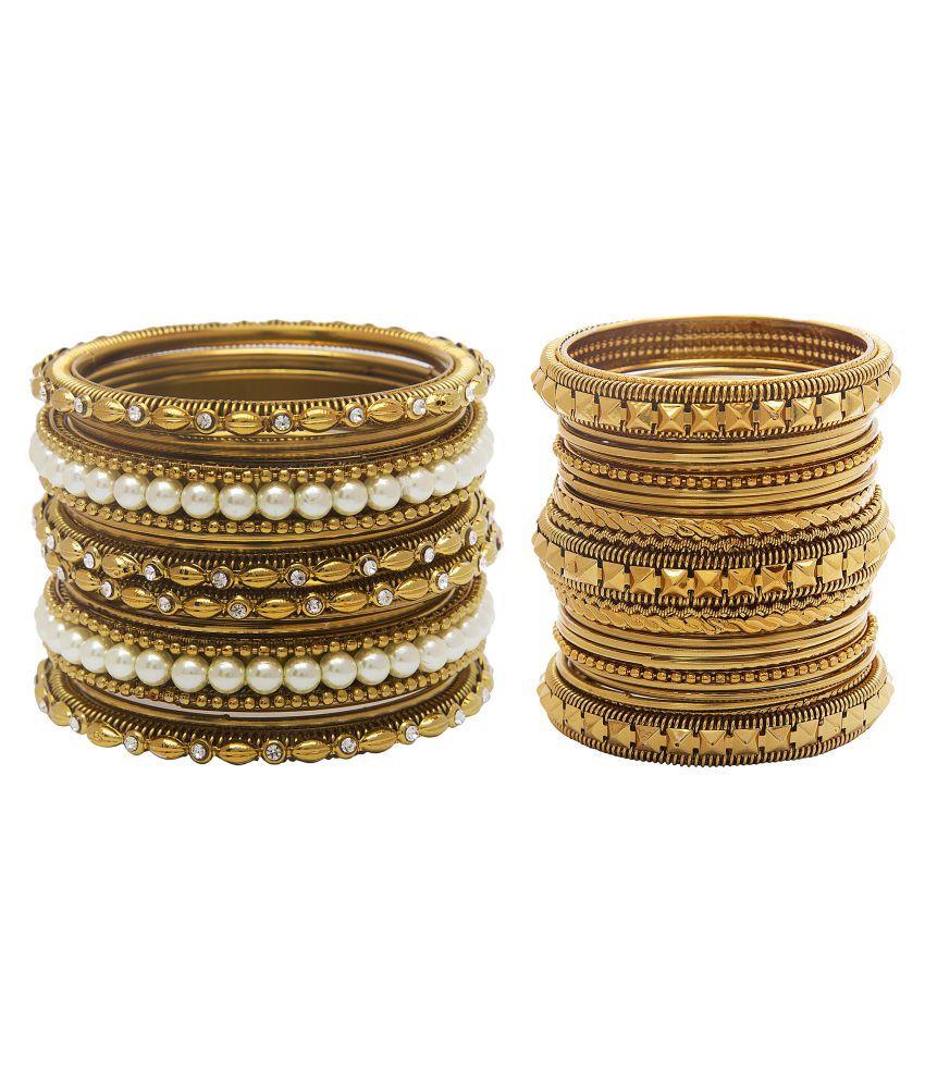 Mansiyaorange Traditional Designer Antique Original Look Golden Thirty One Bangles For Women
