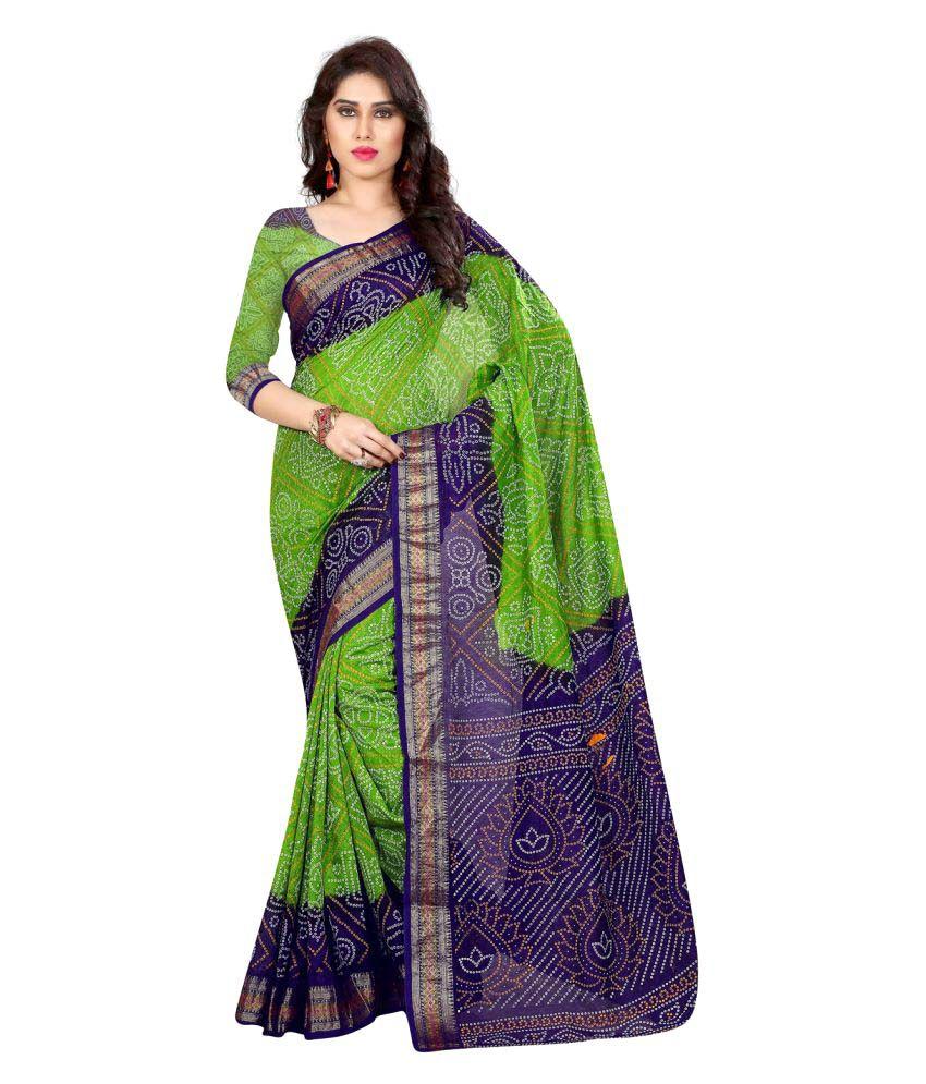 Divine International Trading Co. Green Art Silk Saree