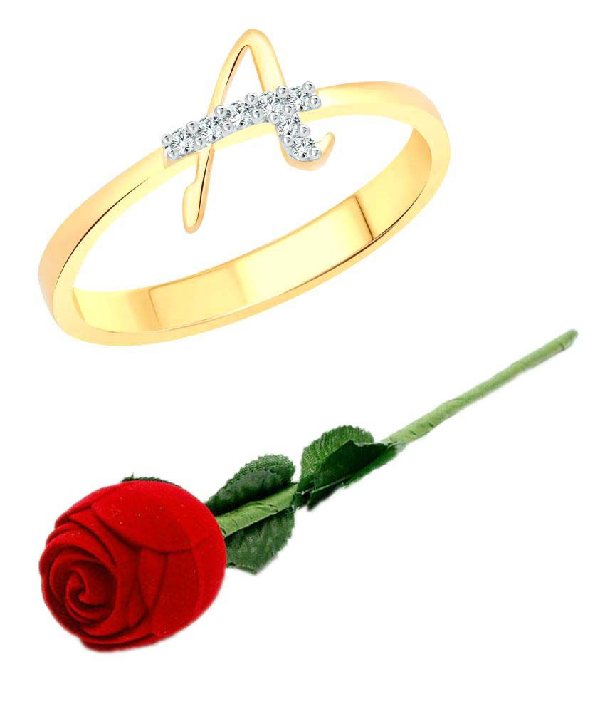 Vighnaharta Initial ''A'' Letter with Rose CZ Gold and Rhodium Plated Alloy Finger Ring for Women and Girls - [VFJ1178ROSE-G14]