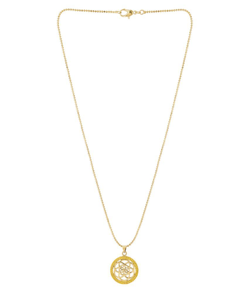 Dare Designer Pendant With Chain  In Gold Plating With Yellow Enamel Design For Men