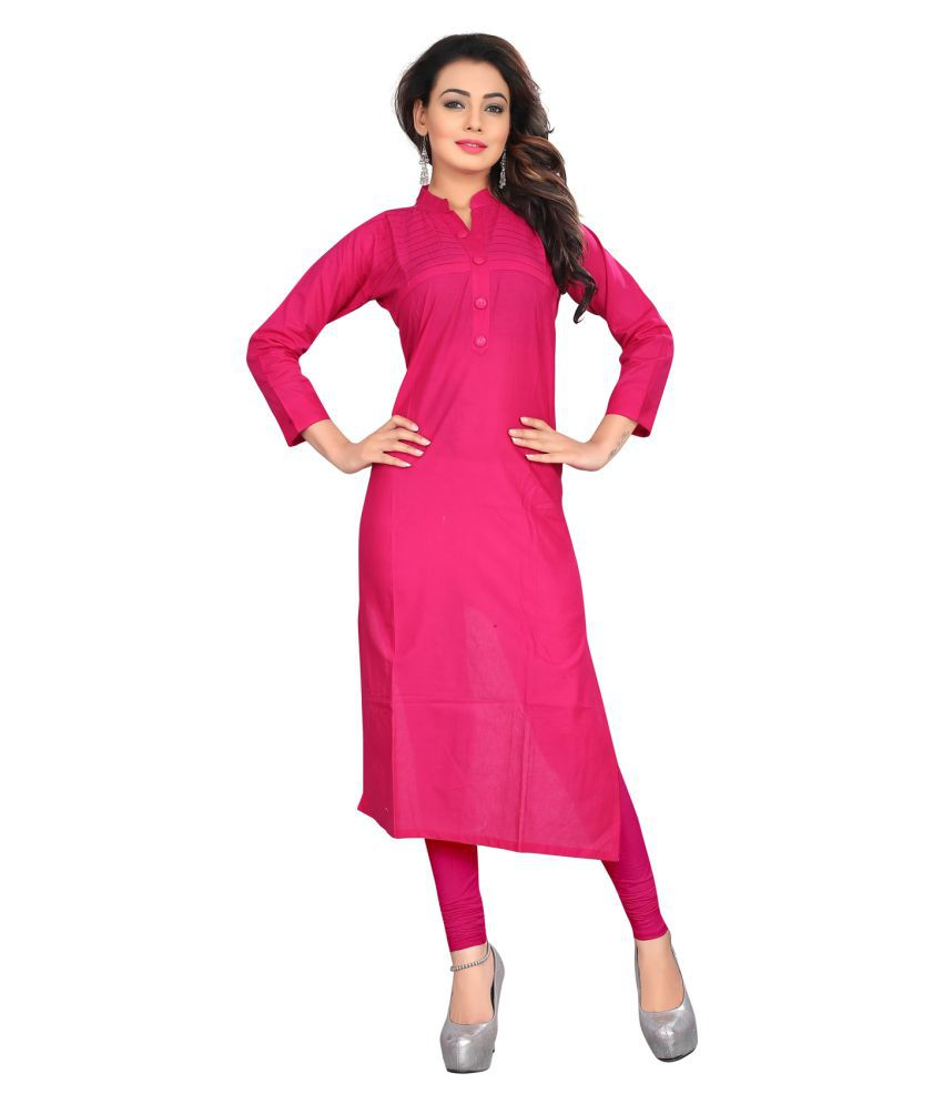 Shree Creations Pink Cotton Straight Kurti
