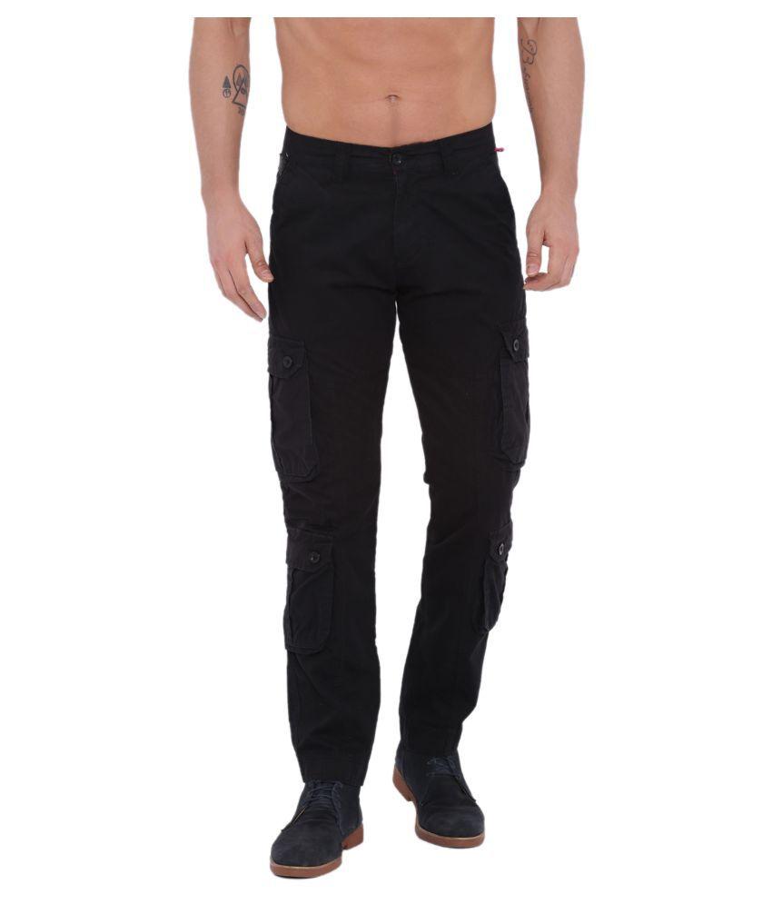Sports 52 Wear Black Regular -Fit Flat Cargos