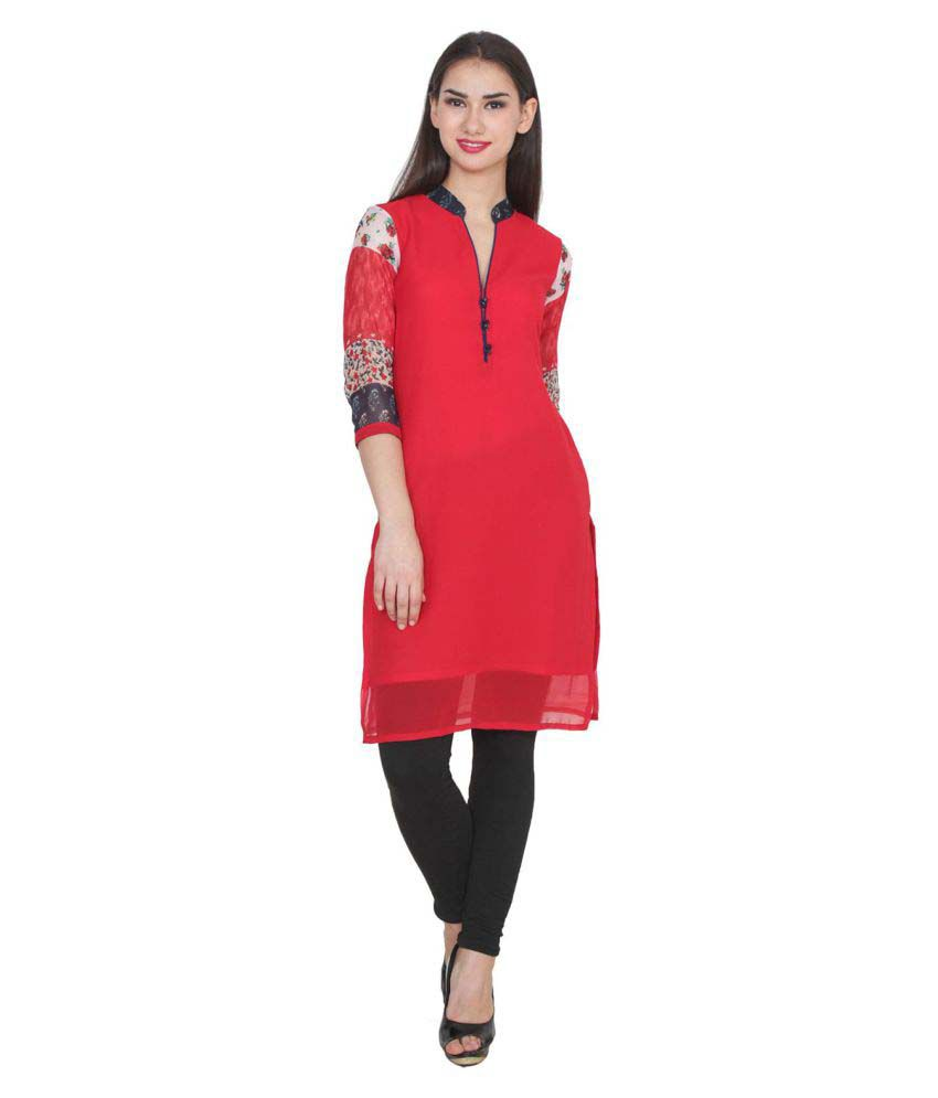 Mirabella India Red Georgette Straight Kurti