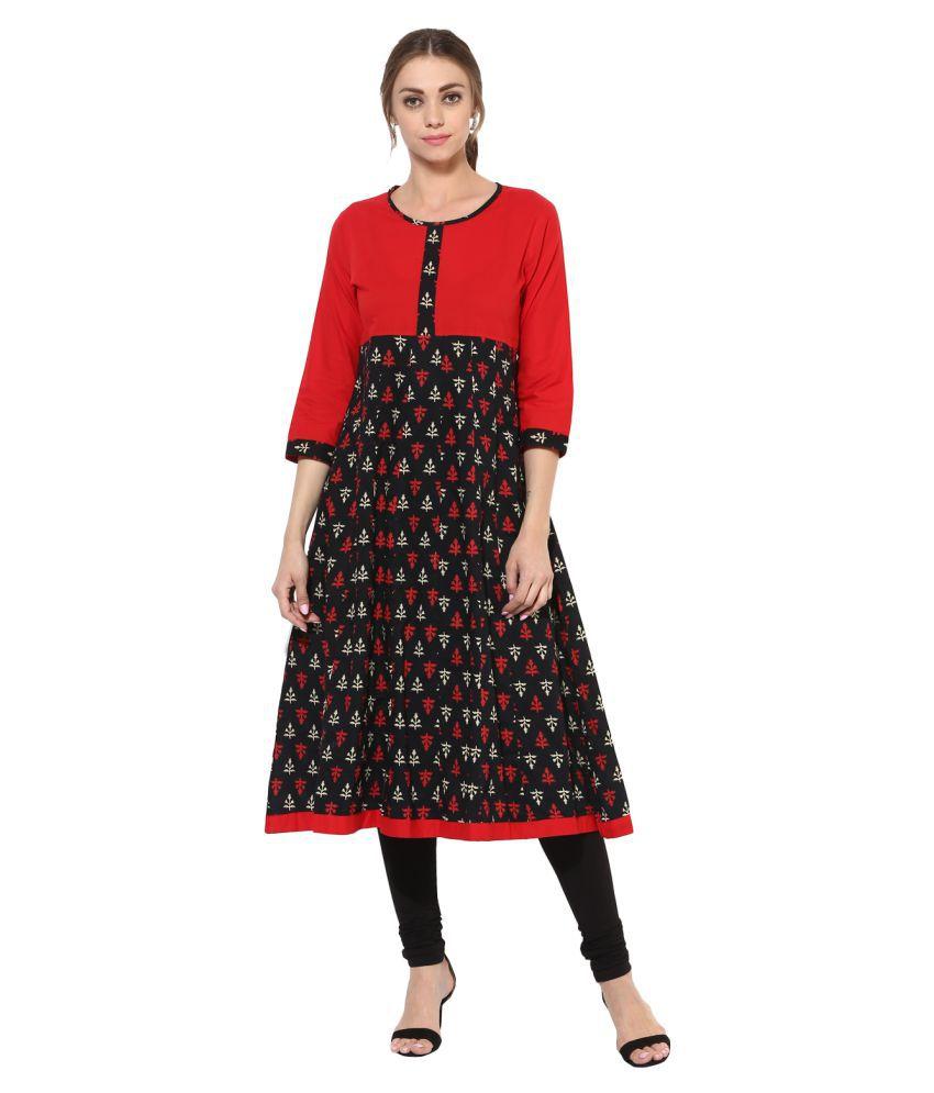 Get Glamr Multicoloured Cotton Anarkali Kurti