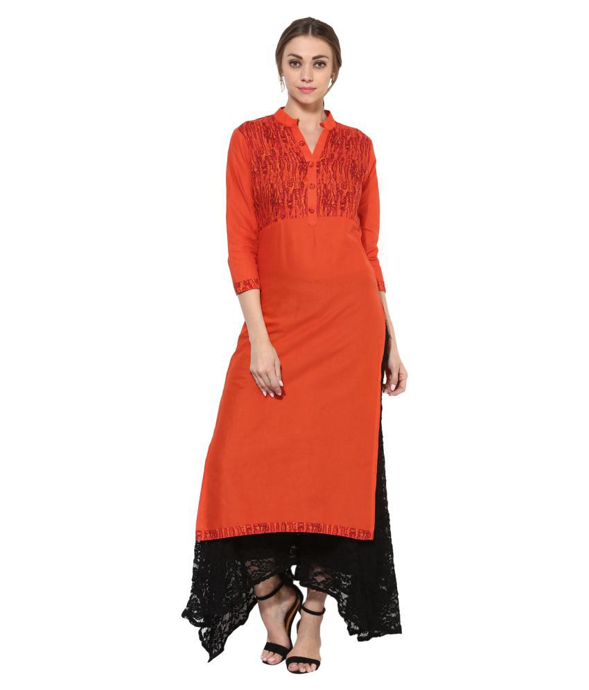 Get Glamr Orange Cotton Straight Kurti