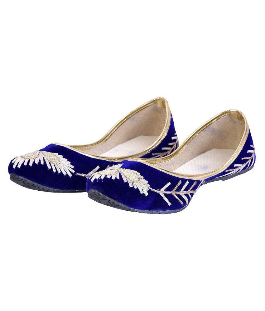 Zakupykart Blue Flat Ethnic Footwear