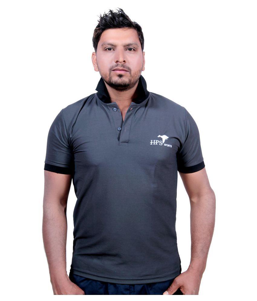 HPS Sports Grey Cotton Blend Polo T-Shirt Single Pack