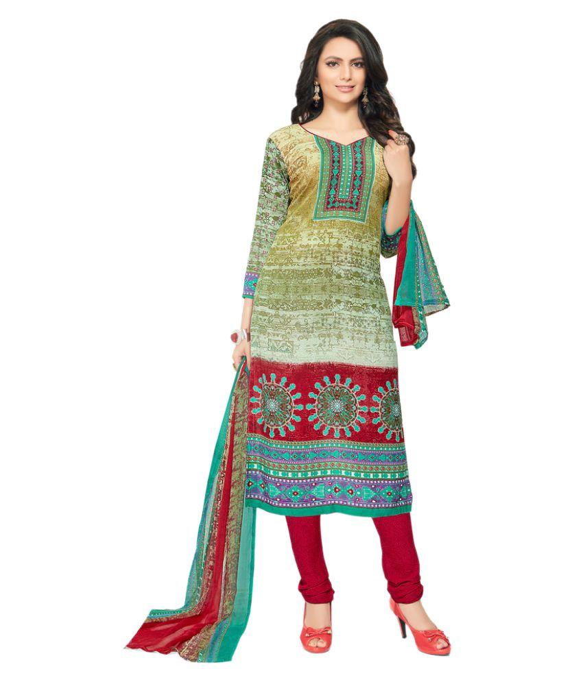 Viva N Diva Multicoloured Cotton Dress Material