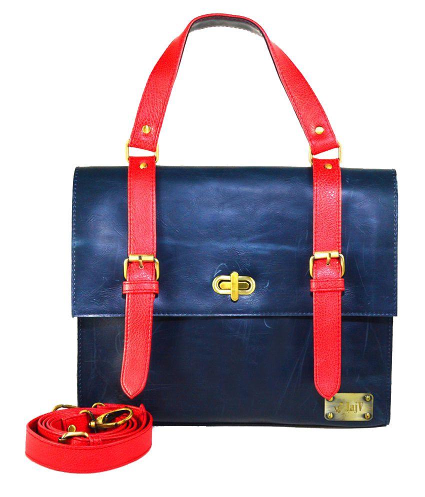 Jajv Blue Faux Leather Satchel Bag