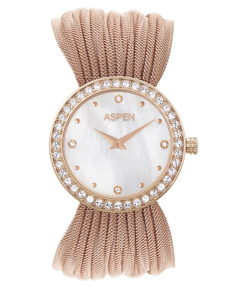 Aspen Vibrant White Ionic Rose Gold Plating Round Dial Ladies Analog Watch - AP1988
