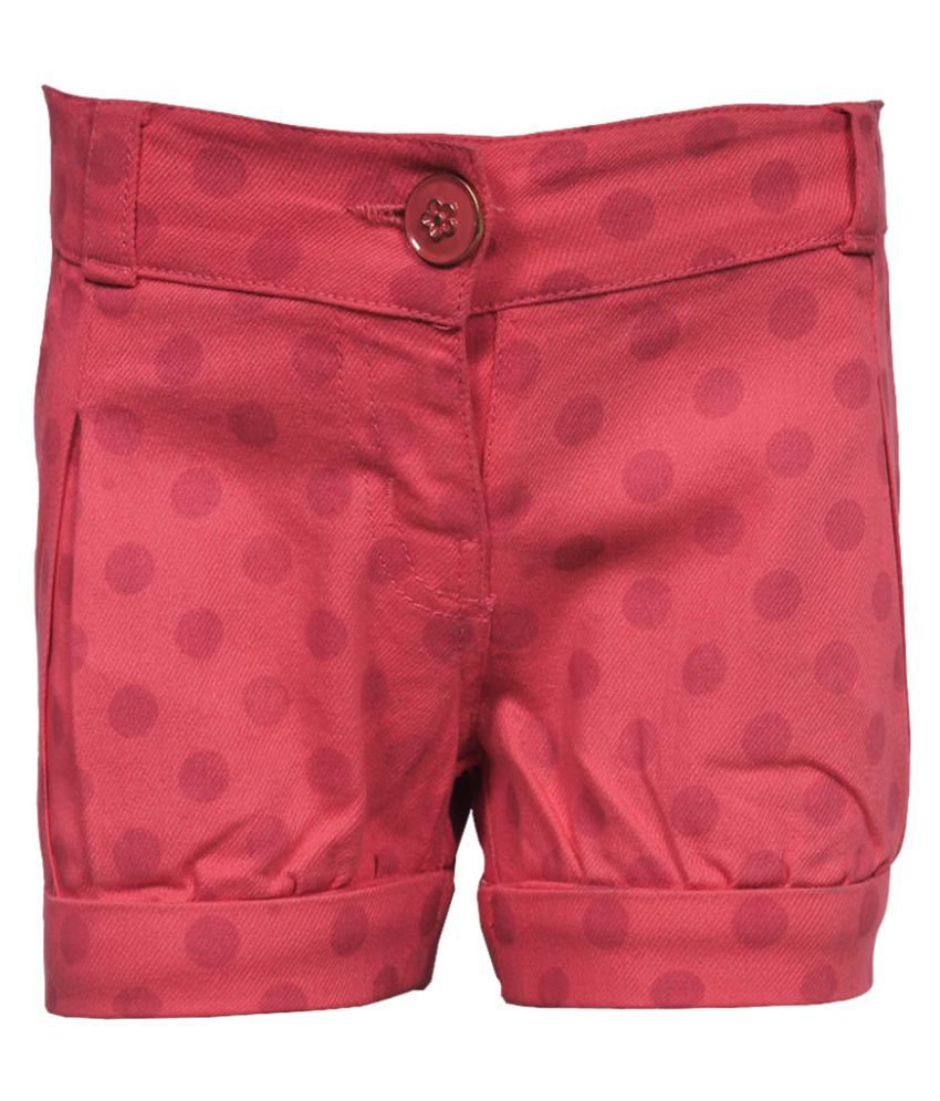 Gron Stockholm Girls Self Design Pink Shorts (GS-0027-BG-PINK-12-18m, 12-18 Months)