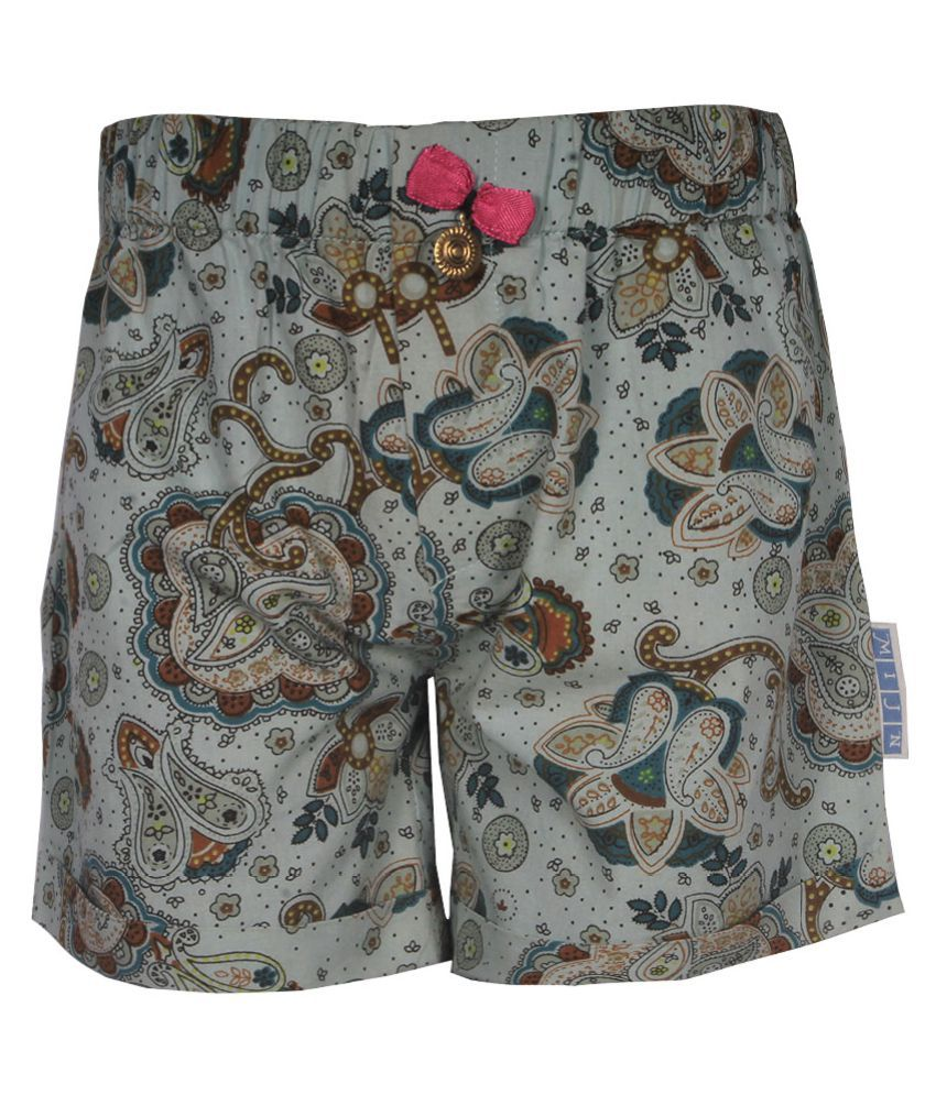 Gron Stockholm Girls Self Design Multicolor Shorts (MS-2-CG-GREEN-MULTI-4Y, 4 Years)